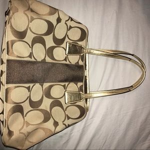 Gold and Tan Coach Handbag